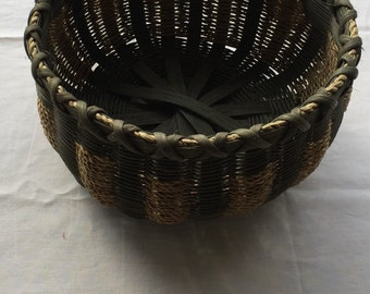 Vintage Hand-Woven, Signed and Numbered Original Round Basket
