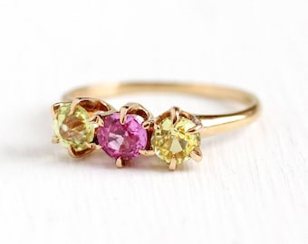 Sale - Antique Gold Ring - Art Deco 14k Rose Gold Created Pink & Yellow Sapphire - 1920s 1930s Round Cut Created Gemstones Fine Jewelry
