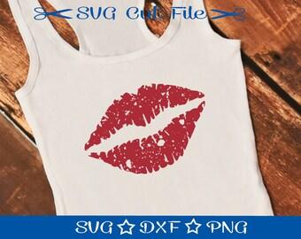 Distressed Lips SVG, Grunge Lips SVG Cut File, SVG Download, Silhouette Cameo, svg Design, Mouth svg, Kiss Svg, Vintage Lips Svg