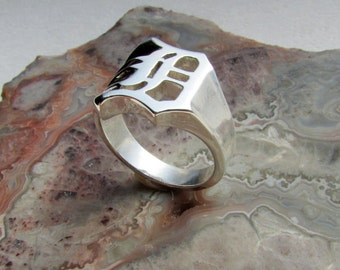 Old English D ring .925 Silver, size 6.5, 7.5 grams, 14mm wide at top, Cad/hand carved. His and hers available, go Detroit!