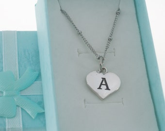 Initial Charm Necklace in silver plated pewter.  Initial Necklace. Initial Charm. Initial Jewelry. Letter G Necklace.  Letter G charm.