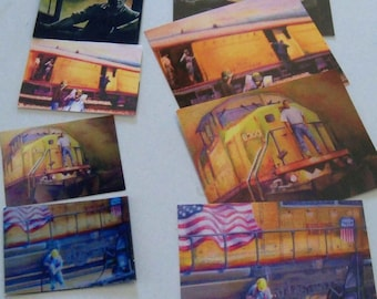 set of 4  magnets-  UP Railroad drawings