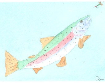 On the Take rainbow trout watercolor painting greeting card