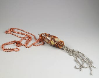 Long Ball Chain Tassel Necklace - Wire Wrapped Copper Brown Cream Silver - No. 189