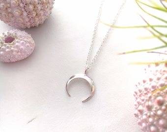 Crecent Moon Necklace Charm, Sterling Silver or  14 kt Gold Fill