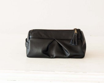 Black leather accessory bag, pencil case makeup cosmetic bag toiletry travel case zipper utility bag zipper case  storage - Estia Bag
