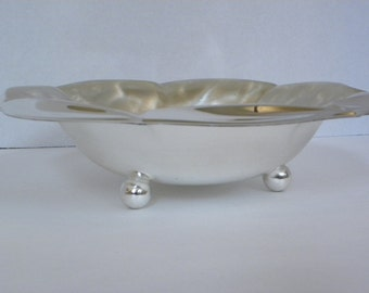 Vintage Ornate Silver plate Bowl by WMF Ikora -- Scalloped Edge Footed Bowl with swirl design --  Made in Germany -- Tarnish Resistant