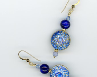 Cloisonné Earrings, Cloisonné Jewelry, Blue Sunburst, Gift For Her, Murano Glass, Blue Lace Agate, Blue Earrings, Blue Jewelry
