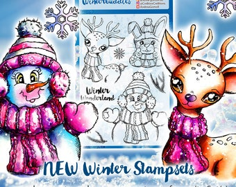 """Clear Stamp Set """"Winterbuddies"""" - perfect to use in your Planners, Happymail, Cardmaking, Artjournaling etc. whimsical Illustration"""