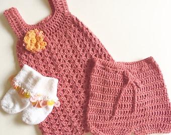 Crochet Baby Dress, Bloomers and Socks 0-3 mo.