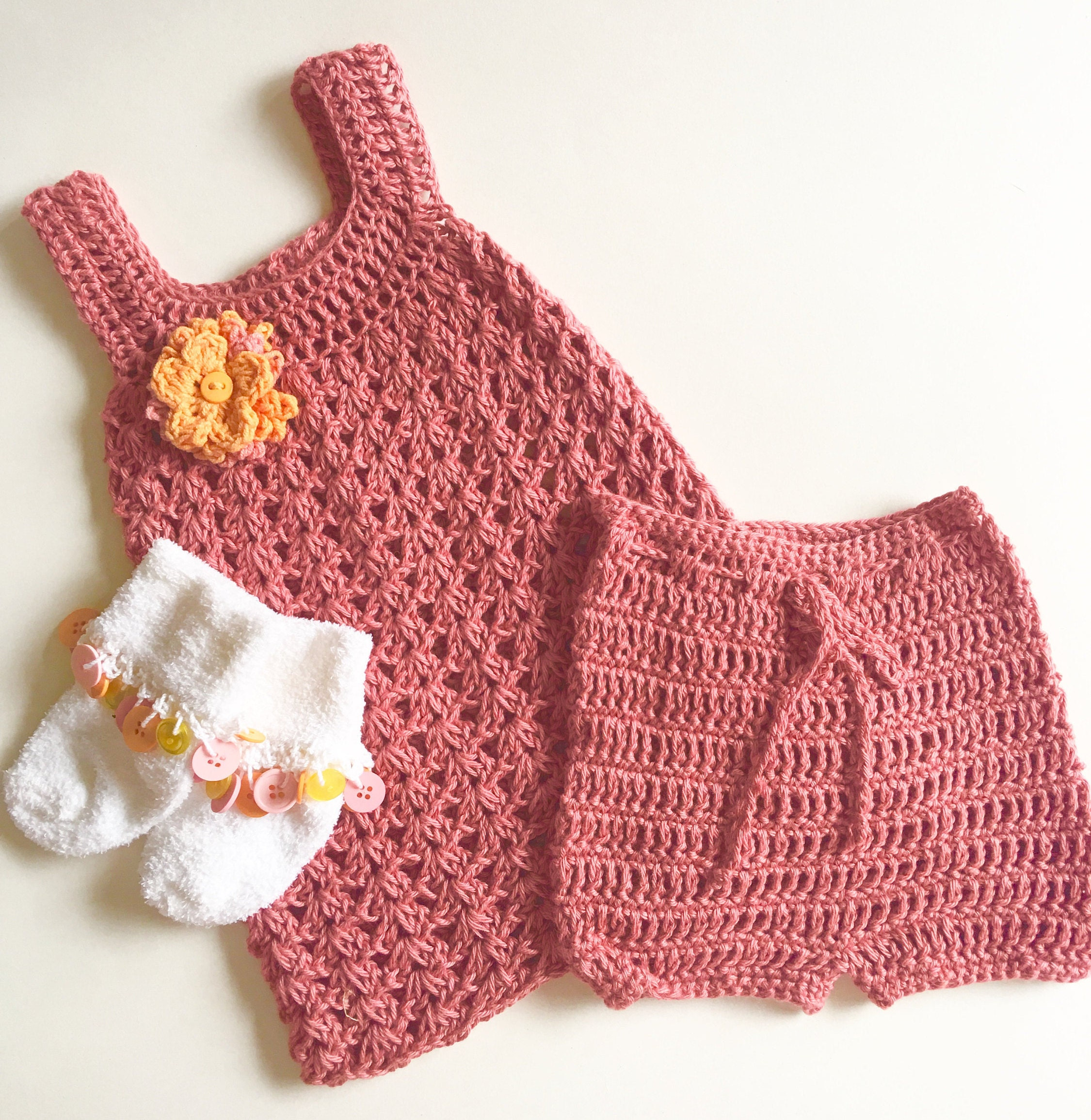 Crochet Baby Dress Bloomers and Socks 0 3 mo