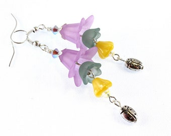Lucite Flower Earrings with Ladybug, Crystal, Pastels