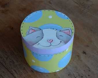 "Box round wooden ""Bubble cat"""