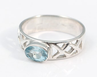 Blue topaz 92.5 sterling silver ring size 7 us