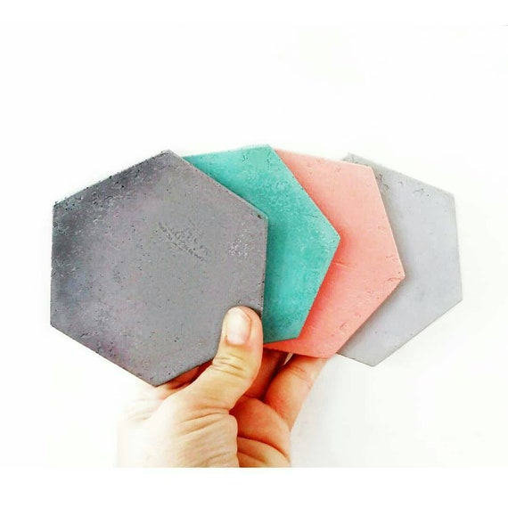 Concrete Hexagon Coasters/Cement Coasters/Geometric decor/New Home Gift/Housewarming Gift/Industrial/Coffee table decor/Minimalist