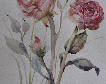 Floral Fine Art Watercolor Painting Roses Flower Art Pink Rose Botanical Rose Painting Red Flower Painting Original Watercolour Home Decor