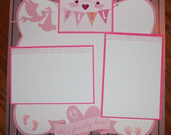 12 x 12 baby girl premade scrapbook layout, premade baby girl scrapbook layout, handmade baby girl scrapbook , baby shower gift, girl reveal