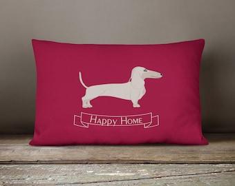 """Happy Home"" Dachshund decorative pillow"
