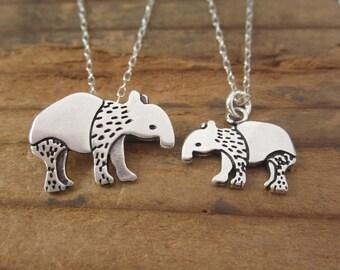 Sterling Silver Tapir Necklace Set - Mother-Daughter Tapir Pendants