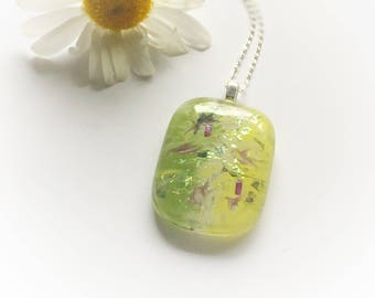 Pastel shade fused glass Pendant