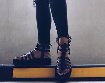 Black leather gladietor sandals