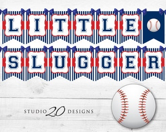 Instant Download Baseball Baby Shower Banner, Baseball Bunting Banner, Blue Red Baseball Birthday Banner, Little Slugger Baseball Banner 68A