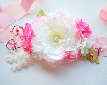 SALE White Pink Peony Weddings Accessories, White Peony Bridal Flower Sash Belt, Bridal Bridesmaids Headpiece, Photo Prop, Spring Wedding