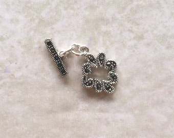 Floral Marcasite Toggle Clasp ~ (18mm x 13mm) Sterling Silver Jewelry / Bracelet Clasp / Closure (#222)