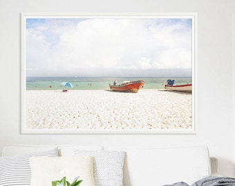 """Beach Photography // Red Boats Large Beach Photography // Large Living Room Art // Oversize Beach Print // Large Beach Print """"Ocean Boats"""""""
