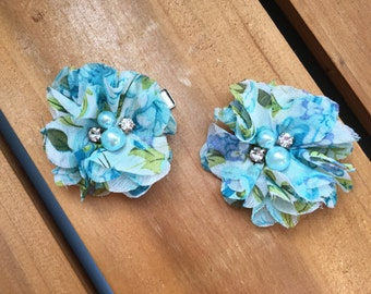 Blue Green Floral Baby Girl Hair Clips, flower hair clips, baby hair clips, floral, hair clips, flower, blue green floral