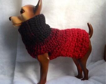 Ebony-to-Cranberry, Wool Dog Sweater, Knit Dog Sweater, small dog sweater, dog sweaters, dog sweater, red dog sweaters, black dog sweaters