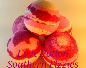 Love Potion Handcrafted Bath Bomb, 4.5oz, Bath Fizzy, Handmade, Bath Art, Artisan, Cruelty Free, Pink, White, Red