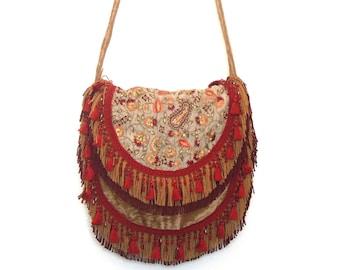 Embroidered bohemian bag, gypsy bag,  festival hippie bag, hipster bag, fringed bag, messenger bag, overnght bag, Carrie Original