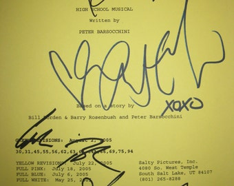High School Musical Signed Movie Film Screenplay Script Autographs Vanessa Hudgens Ashley Tisdale Drew Seeley Corbin Bleu signatures musical