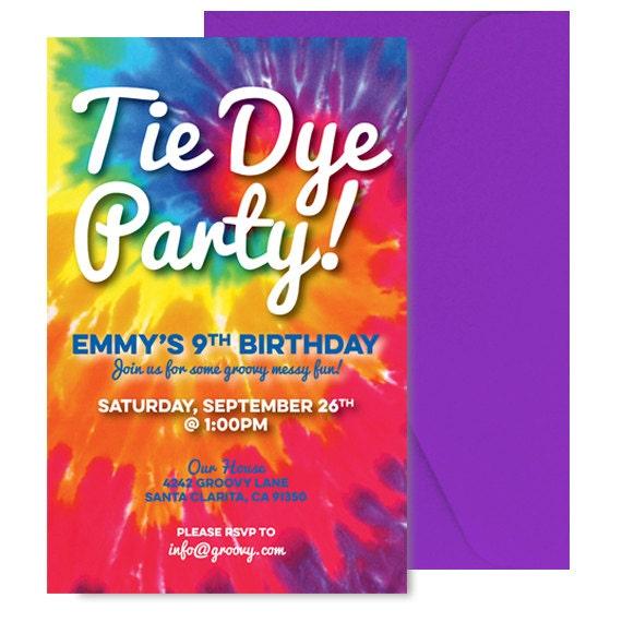 Tie Dye Invite Tie Dye Invitation Tie dye Party Invitation