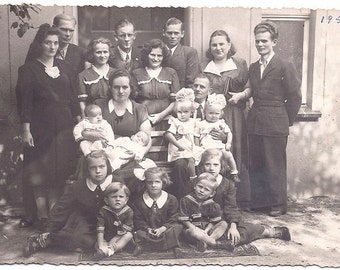 Vintage Photo - Twins Run in the Family - 1950s Poland - Sepia Real Photograph Postcard rppc