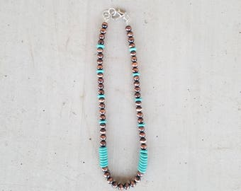 SALE Copper Navajo Pearls and Turquoise Necklace