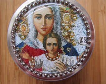 Item # 28 ~ Blessed Mother and Jesus Icon rosary case, First Communion gift idea girl boy favor Baptism gift or favor, convert