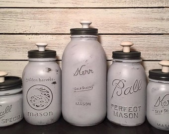 Rustic farmhouse mason jar kitchen canister set gray