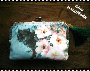 Black cat iphone case / Coin purse / Wallet / Pouch / wedding clutch / kiss lock frame purse bag -GinaHandmade