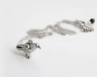 Silver Raven Necklace | Cute Crow Necklace | Dark Silver Bird Necklace | Crow Charm Necklace