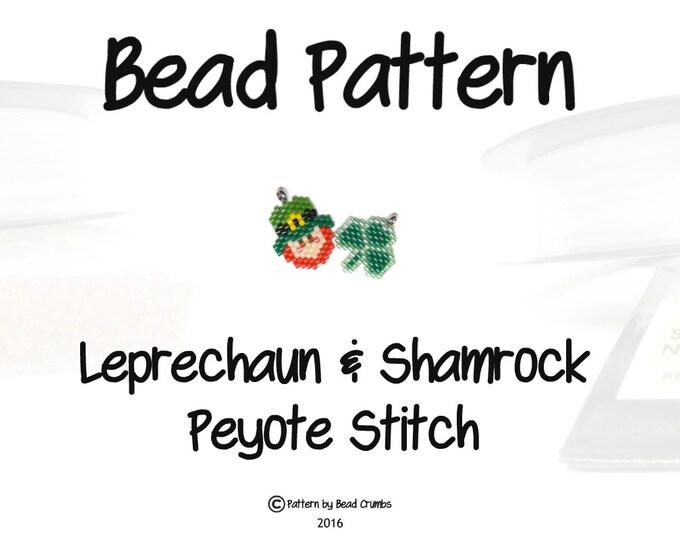 St Patricks Day Patterns, Leprechaun  & Shamrock Clover Charm, Peyote/Brick Stitch   DIGITAL DOWNLOAD