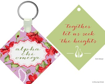 AXO Alpha Chi Omega Motto Floral Keychain Sorority