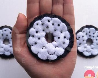 cookies and cream donut brooch, felt food pin