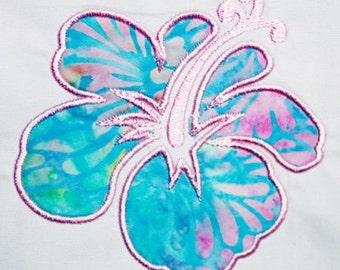 Hawaiian Hibiscus Flower Machine Embroidery Applique Pattern **Instant Download**
