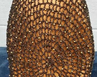 """Cotton/Metallic Combination Snood with Beads on alternating rows in 10"""" Length"""