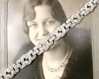 Vintage Art Deco Bridal Bracelet, Silver Pave Rhinestone Bracelet, 1920s Vintage Wedding Great Gatsby Tennis Flapper Jewelry 1930s Speakeasy