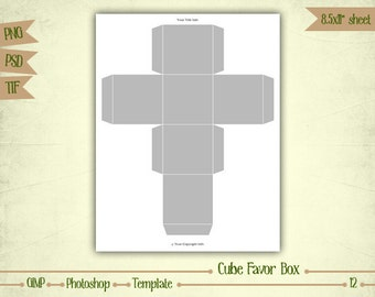 Cube Favor Box - Digital Collage Sheet Layered Template - (T012)
