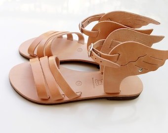 winged sandals, Greek sandals, Hermes sandals, leather sandals