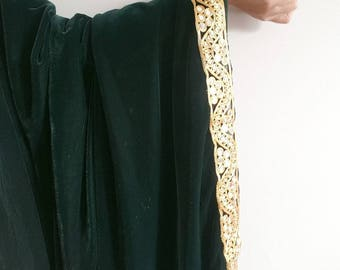 Emerald Green Velvet Shawl - Large Velvet Shawl, Gold and Green Shawl, Indian Jewelry, Gold Border, Green Velvet Scarf, Embroidered Fabric